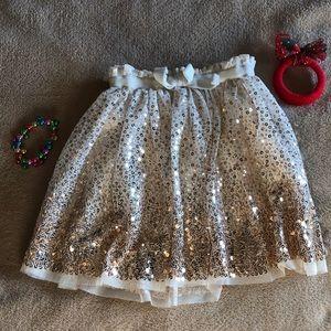 Bottoms - Little girls sparkly gold skirt